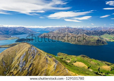 Lake wanaka and Mt Aspiring, new zealand - stock photo