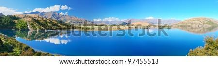 Lake Wanaka at summer sunny day - stock photo