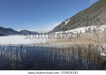 lake weissensee in winter in carinthia,austria