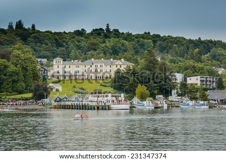 LAKE WINDERMERE, CUMBRIA, ENGLAND - OCT 18th 2014: A unique view towards The Belsfield Hotel,at  Lake Windermere, Cumbria, England. - stock photo
