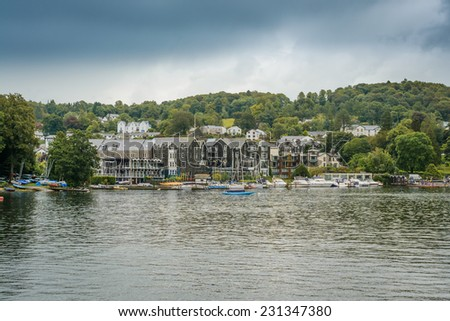 LAKE WINDERMERE, CUMBRIA, ENGLAND - OCT 18th 2014: A unique view towards The Macdonald Old England Hotel and Spa at  Lake Windermere, Cumbria, England. - stock photo