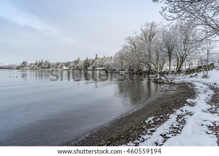 Lake Windermere shoreline in winter