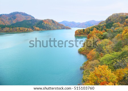 Lake with beautiful  autumn forest