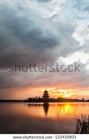 lake with colorful sky and reflection