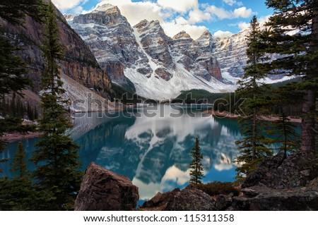 Lake with mountains - stock photo