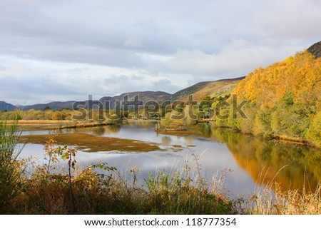 lake with reflexions in the scottish highlands