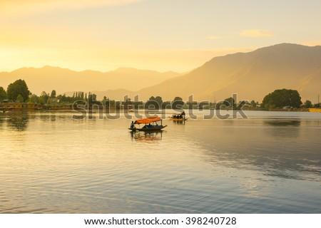 Lake with sunset, Dal lake - stock photo