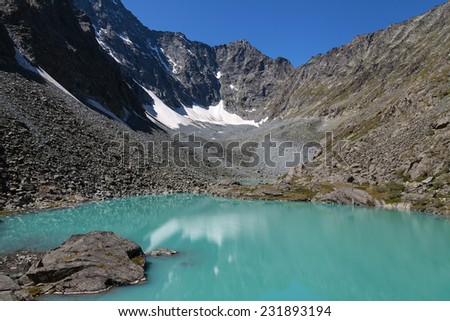 lake with turquoise water - stock photo