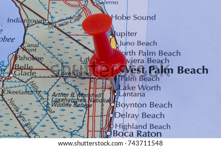Lake Worth Florida Palm Beach County In The United States Of America Marked On