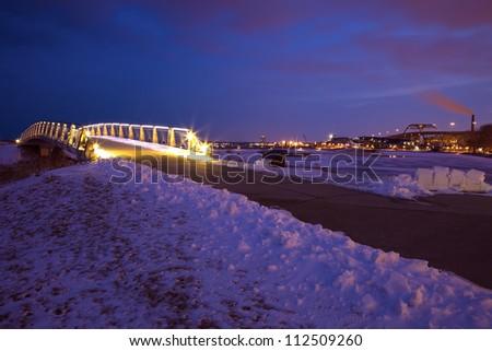 Lakefront in Milwaukee, Wisconsin. Winter sunset. - stock photo