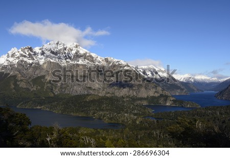 Lakes and Mountains of Nahuel Huapi National Park.  - stock photo