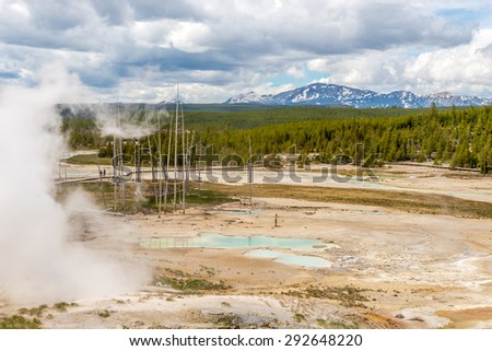 Lakes of Norris Basin in Yellowstone National Park - stock photo