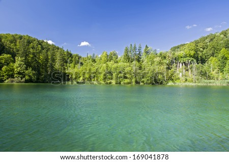Lakes on Plitvice Lakes National Park in Croatia.