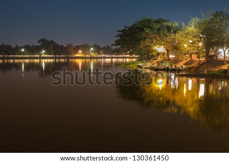 Lakeside at night province of Ubon Ratchathani, Thailand.
