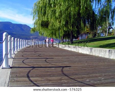 Lakeside Boardwalk - stock photo