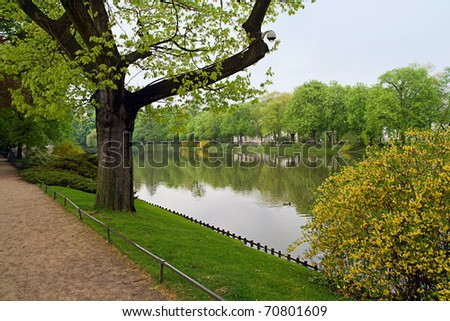 lakeside in the park - stock photo