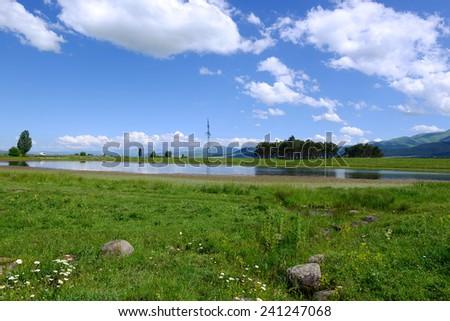 Lakeside landscape - stock photo