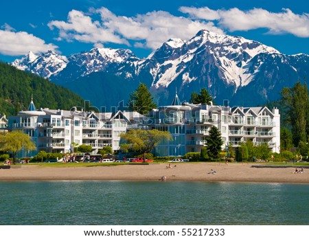 Lakeview condo over gorgeous mountain in Harrison Hot Springs, British Columbia, Canada. - stock photo