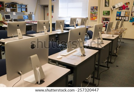 LAKEWOOD, WASHINGTON/UNITED STATES- MAY, 1: A classroom filled with computers on the Clover Park Technical College campus May 1, 2014.