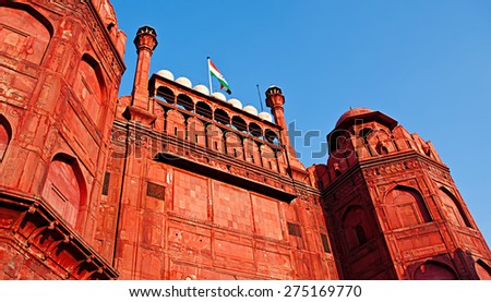Lal Qila - Red Fort in Delhi, India. Red Fort is a 17th century fort complex was designated a UNESCO World Heritage Site in 2007. It covers area of about 121.34 acres.  - stock photo