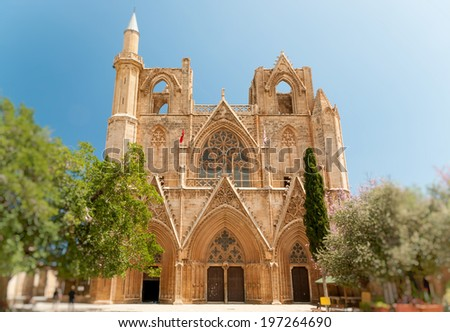 Lala Mustafa Pasha Mosque (formerly St. Nicholas Cathedral), Famagusta, Northern Cyprus. Front view - stock photo