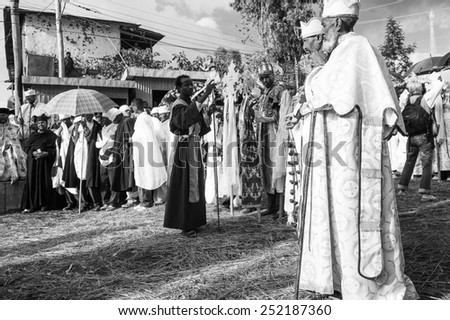LALIBELA, ETHIOPIA - SEP 27, 2011:  Unidentified Ethiopian people during the Meskel festival in Ehtiopia, Sep 27, 2011. Meskel commemorates the finding of the True Cross