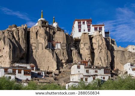 Lamayuru Gompa is a Tibetan Buddhist monastery and blue sky. Ladakh, India  - stock photo