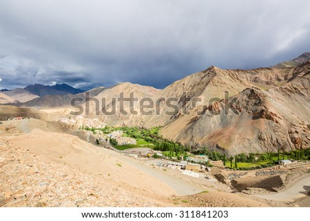 LAMAYURU, INDIA - AUGUST 6 : View of the village and road on mountains Himalaya in Lamayuru,India on August 6,2015