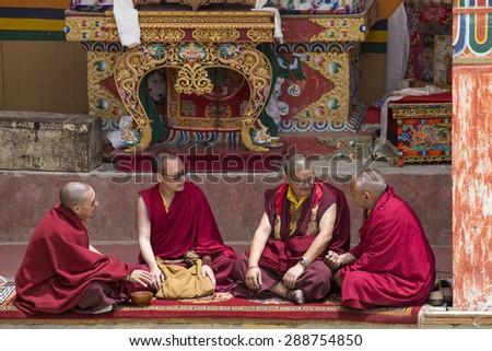 LAMAYURU, INDIA - JUNE 13, 2015: Unidentified buddhist monk during Tsam mystery in time of Yuru Kabgyat festival at Lamayuru Gompa, Ladakh, North India - stock photo