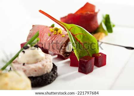 Lamb Canape with Feta Cheese - stock photo