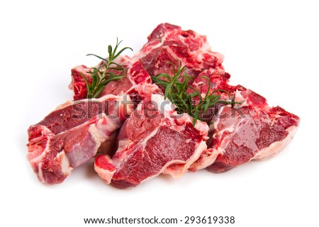 Lamb Chops Isolated on White - stock photo