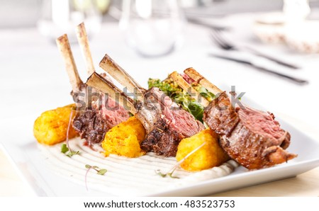 Lamb chops served  in fine dining restaurant