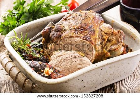 lamb leg roast - stock photo
