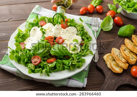Lamb's lettuce salad with mozzarella, tomato and basil, topped with olive oil and herbs - stock photo