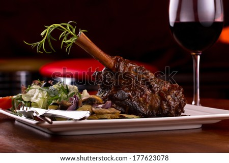 lamb shank and red wine - stock photo