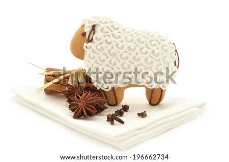 Lamb shaped Gingerbread cookies with spices - stock photo