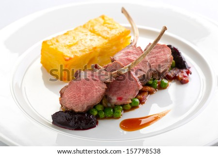 lamb steaks - stock photo