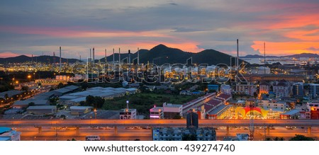 Lamchabang city, oil refinery industry plant at twilight morning