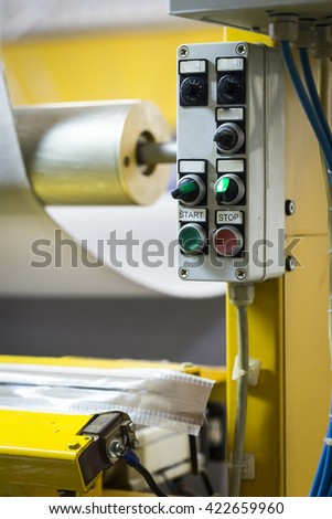Laminating machine for technical textiles and foams - stock photo
