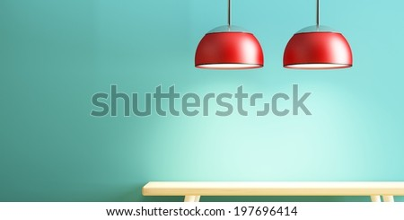 lamp and table of interior decorate - stock photo