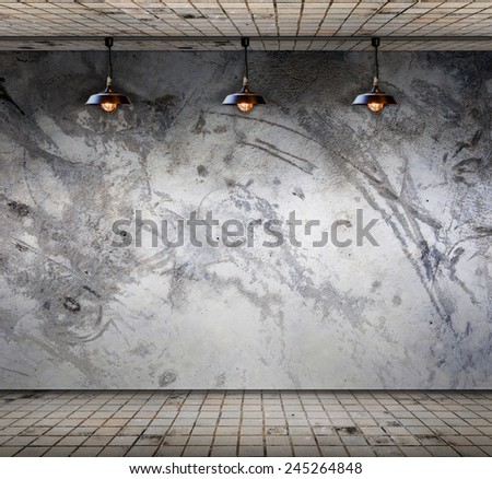 Lamp at Grungy concrete wall with floor tile, Template for product display - stock photo