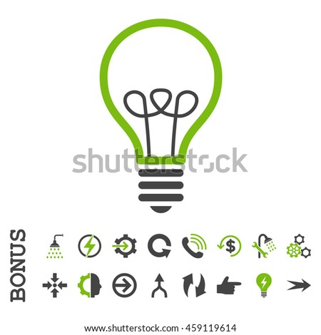 Lamp Bulb glyph bicolor icon. Image style is a flat pictogram symbol, eco green and gray colors, white background.