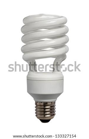 lamp energy saving on white background - stock photo