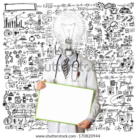Lamp Head Doctor man with empty board against different backgrounds - stock photo