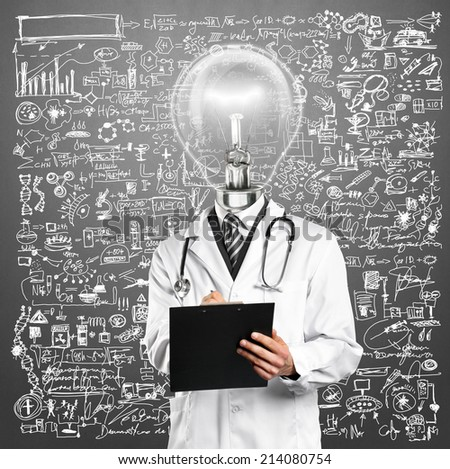 Lamp Head Doctor man with stethoscope against different backgrounds - stock photo