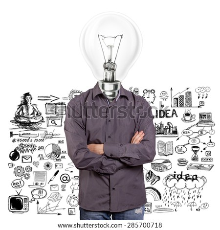 lamp head man, looking on camera, with folded hands - stock photo