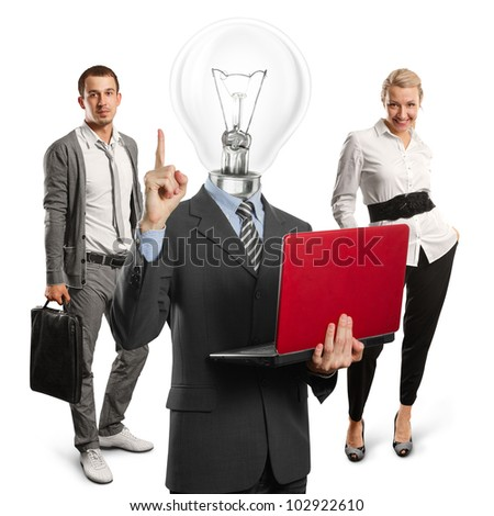 Lamp head man with laptop and business team