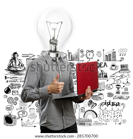 lamp head man with laptop in his hands shows well done - stock photo