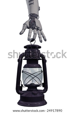 Lamp in a hand of the robot