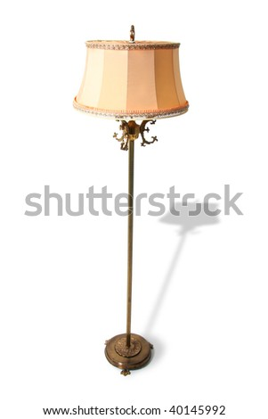 lamp isolated on white. old standard lamp in brass with retro shade